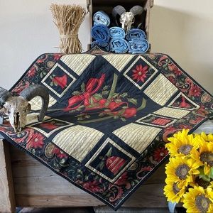 """Homemade Christmas Holly Bell Quilt 42.75"""" x 41"""""""